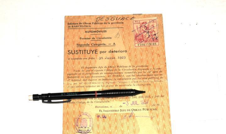Permiso de circulación (vehiculo fiat)- año 1923