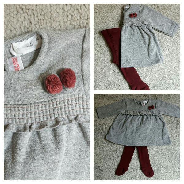 Vestido y leotardos. talla 1-3 meses