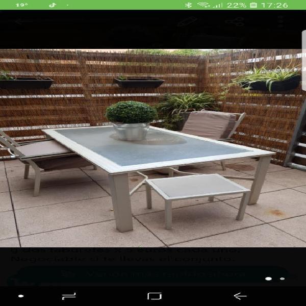 Mesa jardin aluminio lacado