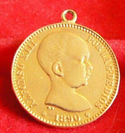 Moneda oro 20 pesetss de 1890 hecha medalla