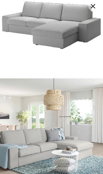 Sofá 3 plazas + chaiselongue gris claro