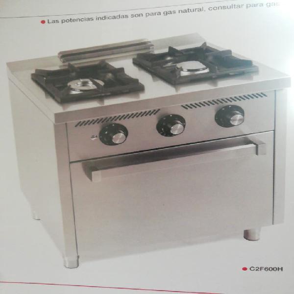 Cocina gas 2 fuegos más horno hr