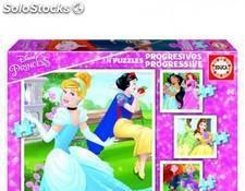 Educa - puzzle progresivos princesas disney 12-16-20-25 de