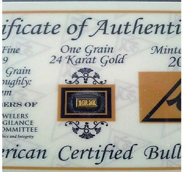 Lingote de oro 1gr,grano, 99,99 de 24k certificado