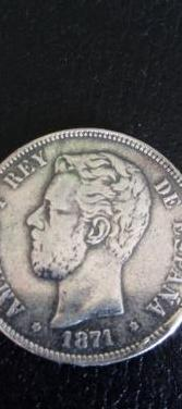 Moneda de plata de amadeo i, año de 1871.