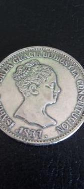 Moneda plata isabel ii del año 1837.