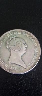 Moneda plata isabel ii del año 1855.