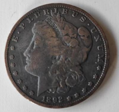 Moneda plata dólar morgan 1892 s