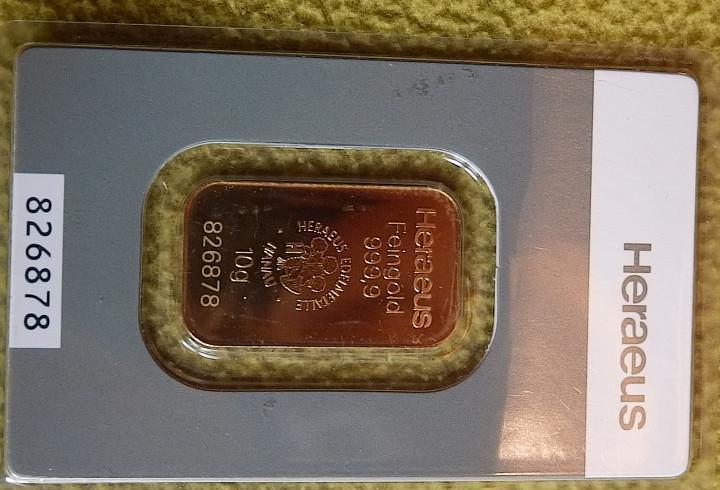 Vendo 2 lingotes 10g oro macizo 24k marca heraeus