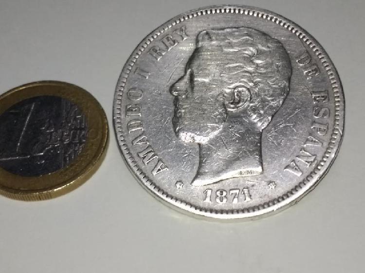 Amadeo i rey de españa 1871.moneda de plata