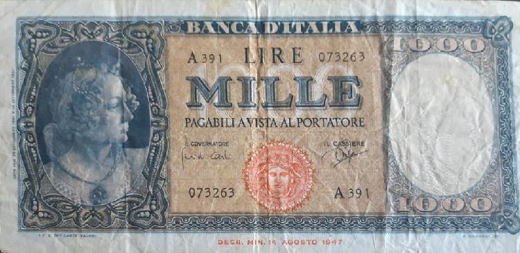 Italia 1000 lire liras p88d 1961 usado vg