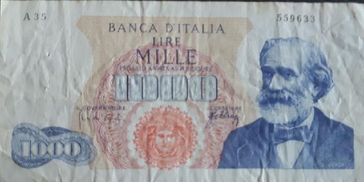 Italia 1000 lire liras p96b5 1963 usado vg
