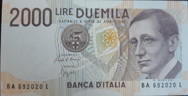 Italia 2000 lire liras p115 1990 nuevo unc sc