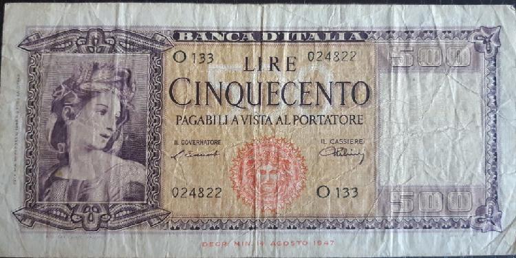 Italia 500 lire liras p80a 1947 usado vg