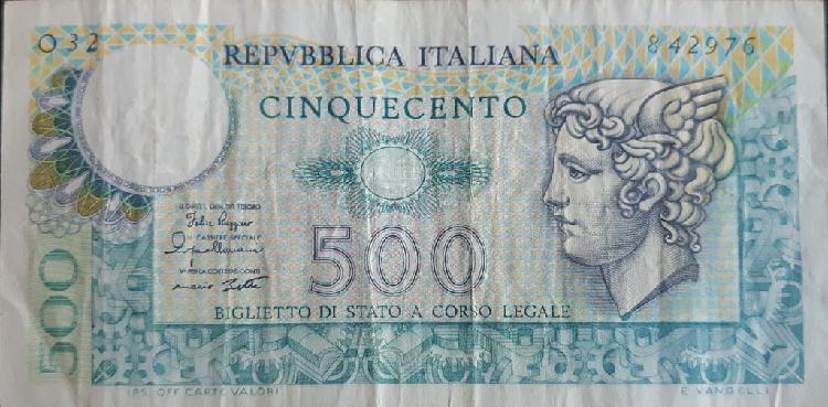 Italia 500 lire liras p94a 1974 usado vf