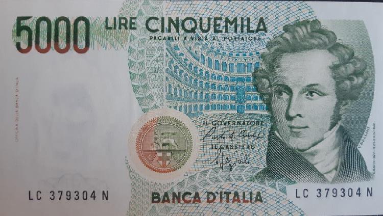 Italia 5000 lire liras p111b 1985 nuevo unc sc