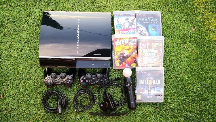 Play station 3 ps3 de 80gb + 2 mandos + 5 juegos
