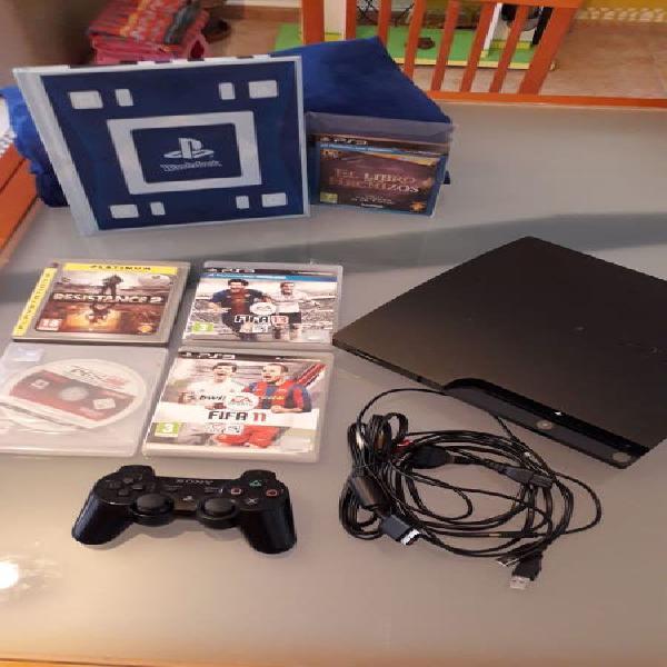 Playstation 3 slim 320 gb mando wonderbook juegos