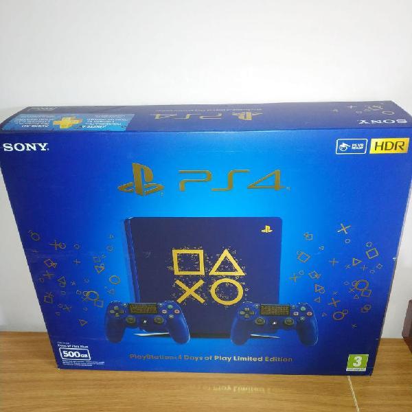 Playstation 4 slim edición limitada, azul, nueva