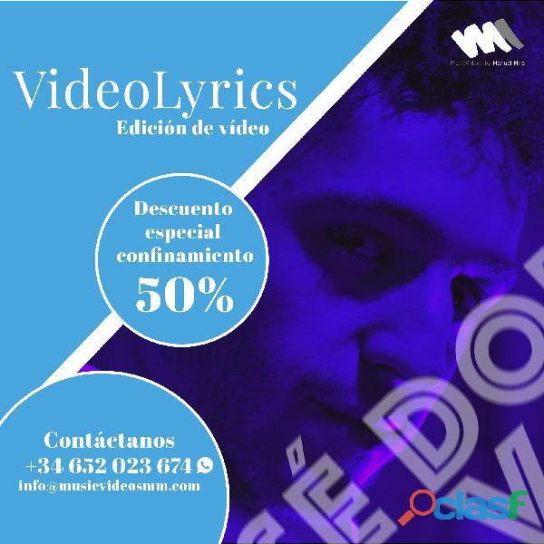 VideoLyrics. Descuento 50% confinamiento.