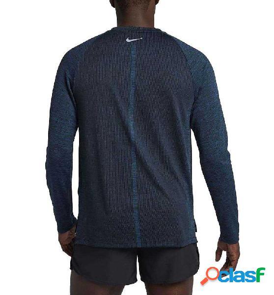 Camiseta m/l running nike m´top dry medalist running azul marino m