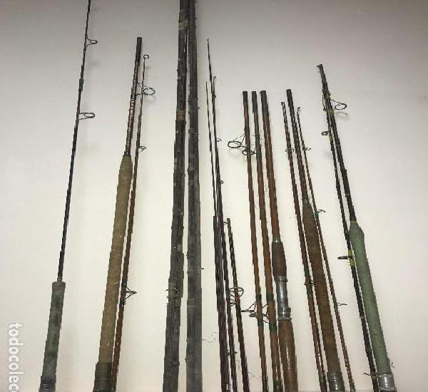 Lote de 7 cañas de pescar antiguas alguna de bambú + 4