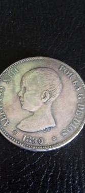 Moneda plata alfonso xiii, año de 1890.