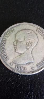 Moneda plata alfonso xiii, año de 1891.