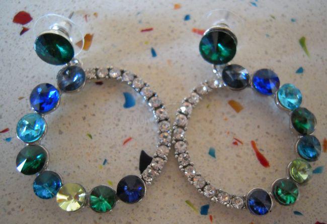 Pendientes bisutería piedras multicolores