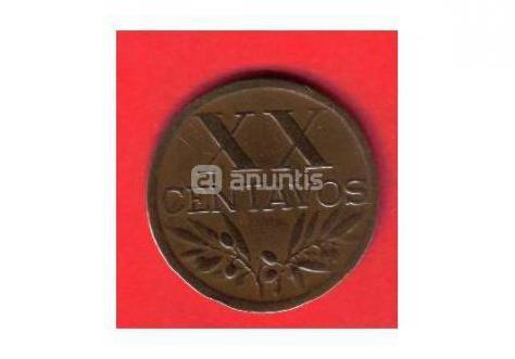 Portugal -- 20 centavos del año 1949
