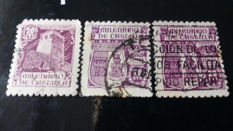 3 sellos milenario de castilla 1944