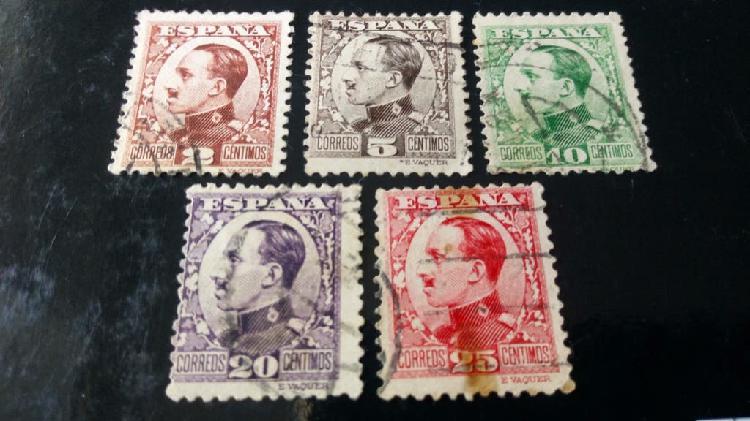 5 sellos de españa alfonso xiii 1930/31
