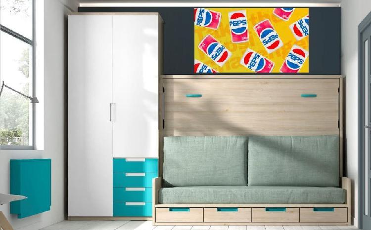 Cama abatible con sofa y armario smp#