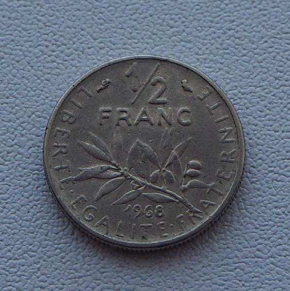 Moneda de 1/2 franco de francia año 1968