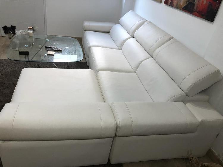 Sofá chaise longue polipiel blanco 3 plazas