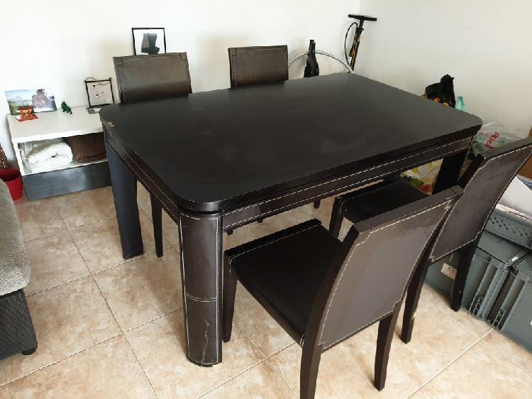 Conjunto mueble madera maciza, mesa comedor, silla