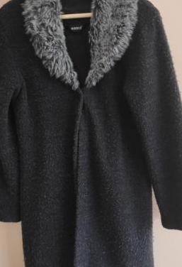 "Chaqueta larga lana cuello ""bufanda"""