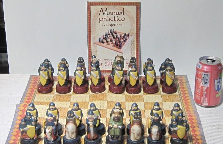Juego ajedrez medieval alfonso x. figuras porcelana, piezas