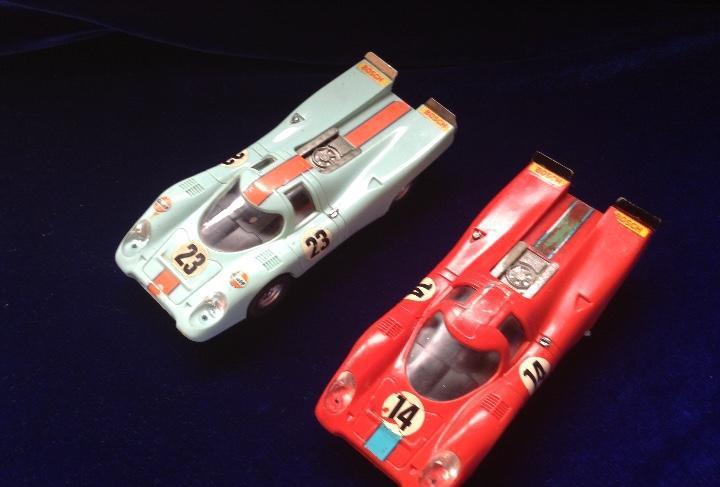 Scalextric porsche 917 dos unidades rojo y celeste