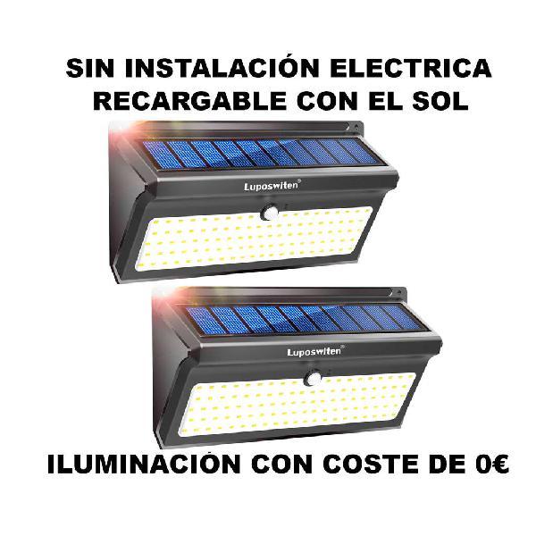 2 focos solar 100 led sensor de movimiento (a estr