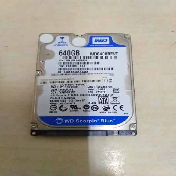 """Disco duro sata 2.5"""" 640gb western digital"""