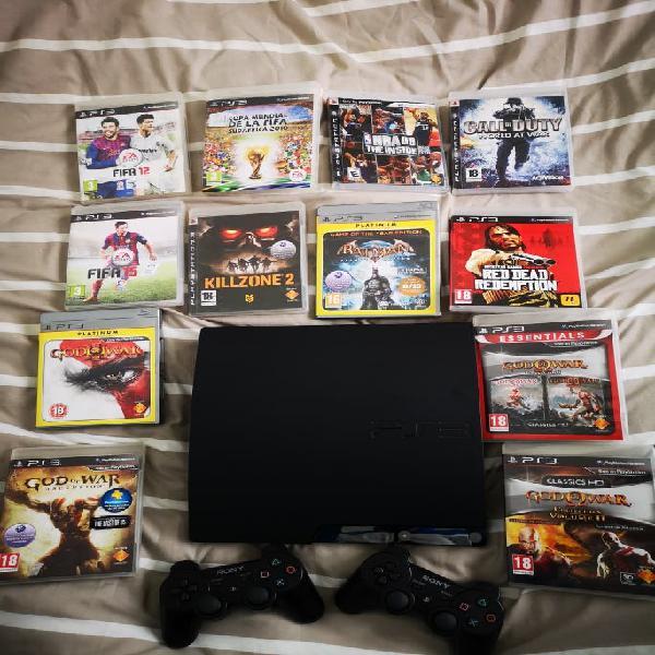 Play station 3 + mandos + juegos