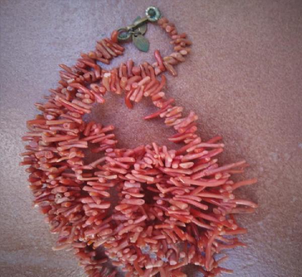 Antiguo collar coral antiguo años 40 60 vintage collar