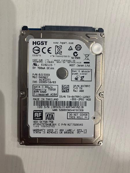 """Disco duro hitachi interno 2,5"""" de 750gb"""