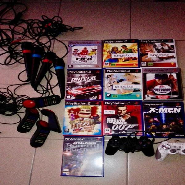 Juegos play station 2 + mandos + mandos de juego