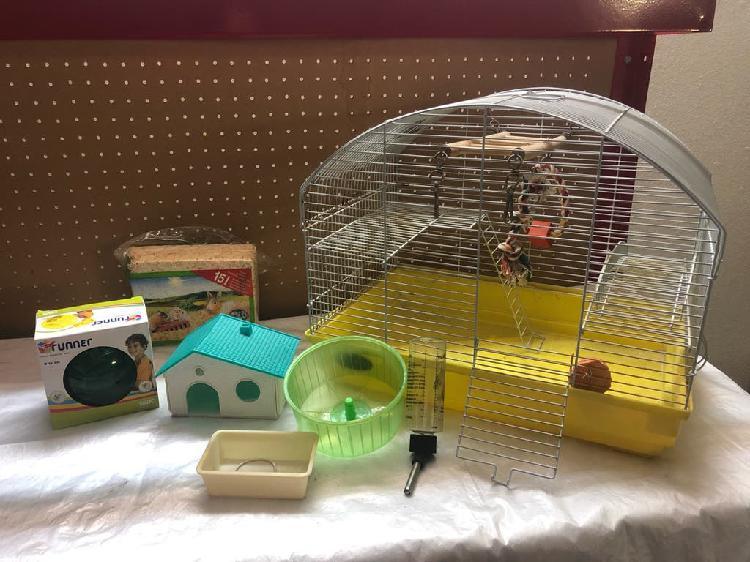 Lote jaula y accesorios hamster / roedor