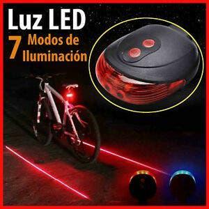 Luz trasera roja bici con láser y led
