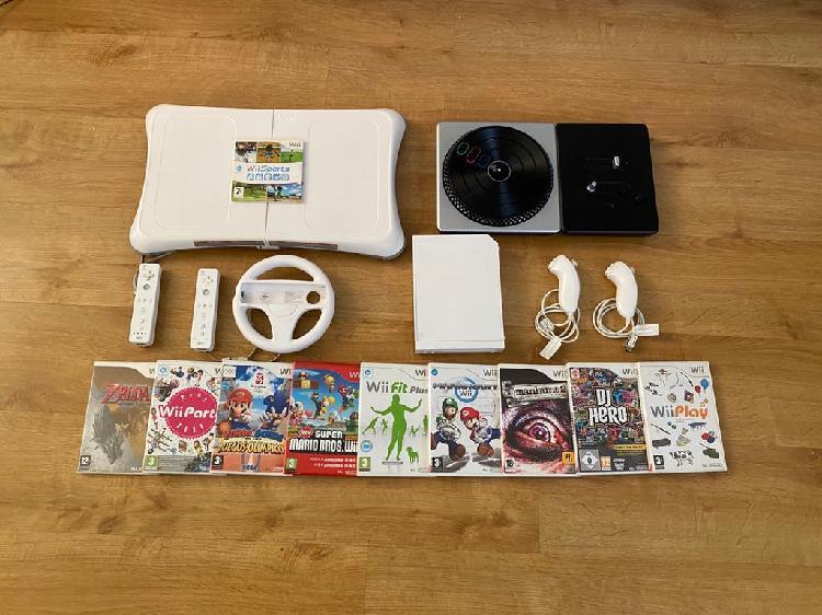Nintendo wii + 10 juegos + balance + mesa dj