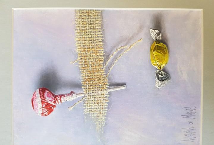 Oleo sobre cartón del pintor almunia de miguel