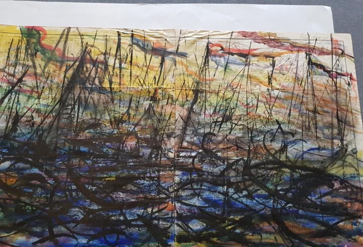 Oleo sobre papel del pintor pedro naranjo